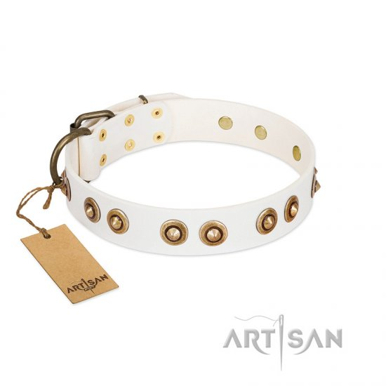 """Moonlit Stroll"" FDT Artisan White Leather Mastiff Collar with Antique Decorations"