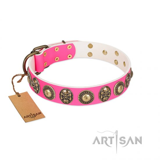 """Two Extremes"" FDT Artisan Pink Leather Mastiff Collar with Elegant Conchos and Medallions with Skulls"