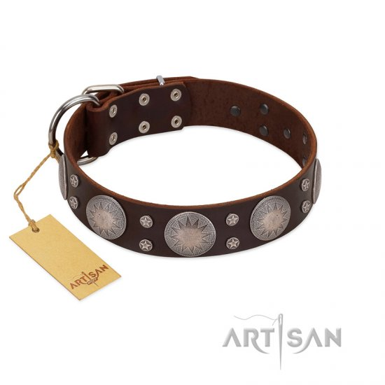 """Imperial Legate"" FDT Artisan Brown Leather Mastiff Collar with Big Round Plates"
