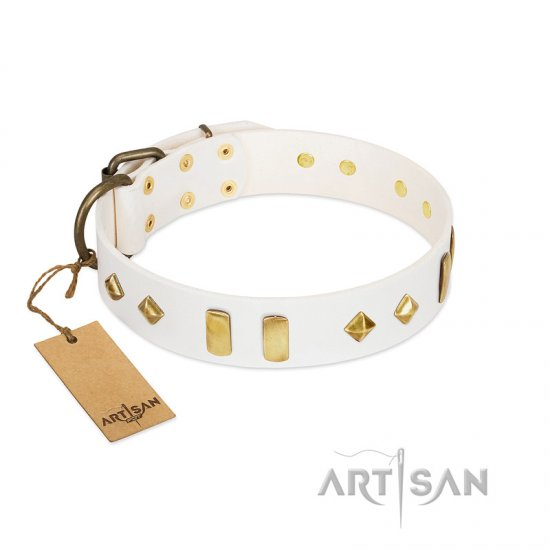 """Hella Cool"" FDT Artisan White Leather Mastiff Collar Adorned with Plates and Rhombs"