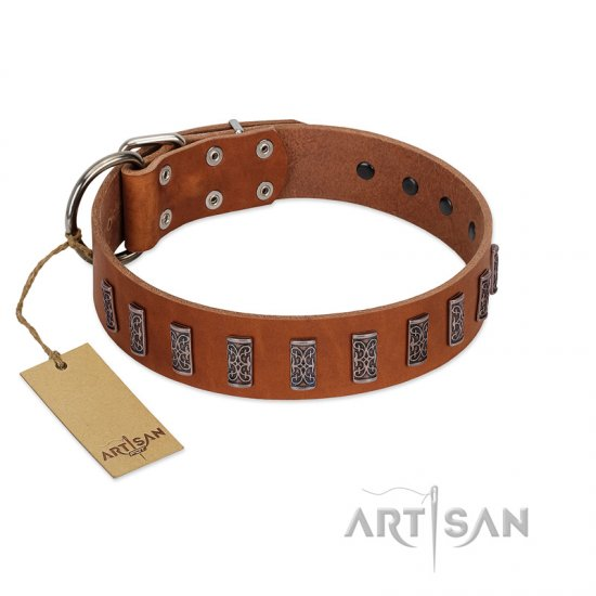 """Silver Century"" Fashionable FDT Artisan Tan Leather Mastiff Collar with Silver-Like Plates"