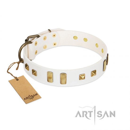 """Wintertide Mood"" FDT Artisan White Leather Mastiff Collar with Old Bronze-like Plates and Studs"