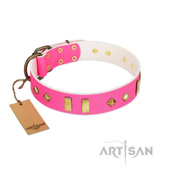 """Gentle Temptation"" FDT Artisan Pink Leather Mastiff Collar with Goldish Plates and Studs"