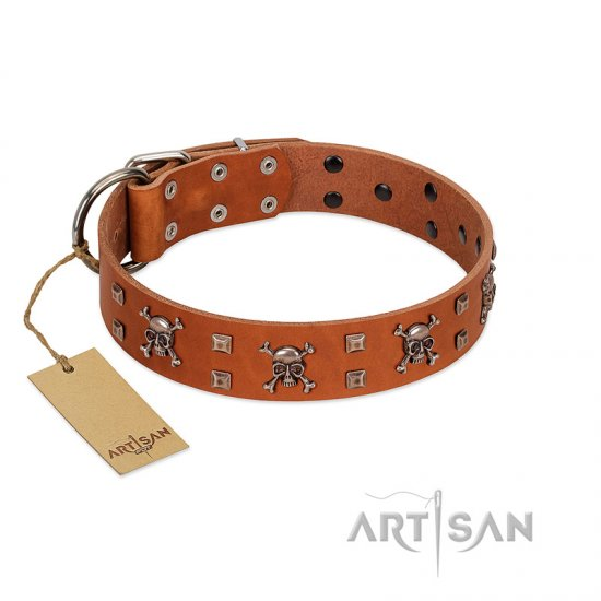 """Rebellious Nature"" FDT Artisan Tan Leather Mastiff Collar Embellished with Crossbones and Square Studs"
