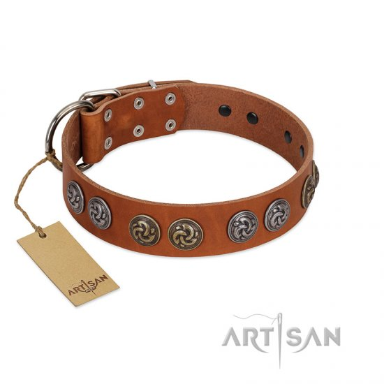 """Luxurious Life"" Premium Quality FDT Artisan Tan Leather Mastiff Collar with Round Adornments"