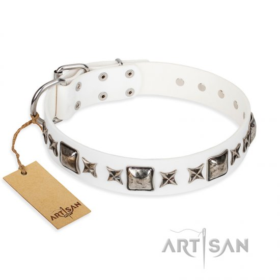 """Intergalactic Travelling"" FDT Artisan Handcrafted White Leather Mastiff Collar"