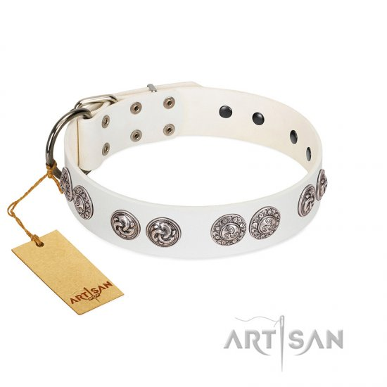 """Eye Candy"" Appealing FDT Artisan White Leather Mastiff Collar with Chrome Plated Medallions"