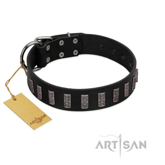 """Black Prince"" Handmade FDT Artisan Black Leather Mastiff Collar with Silver-Like Adornments"