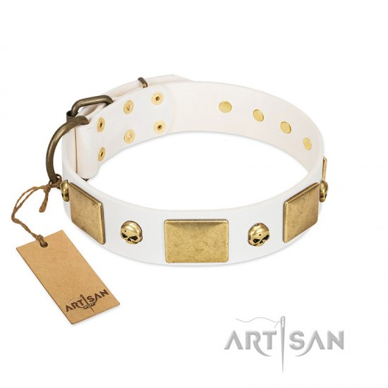 """Inspiration"" FDT Artisan White Leather Mastiff Collar with Antiqued Skulls and Plates"