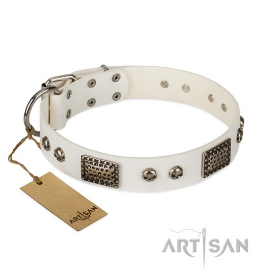 """Terrific Beauty"" FDT Artisan Beguiling White Leather Mastiff Collar"