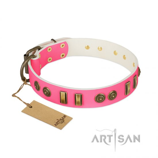 """Pink Amulet"" FDT Artisan Leather Mastiff Collar with Old Bronze-like Plates and Circles"