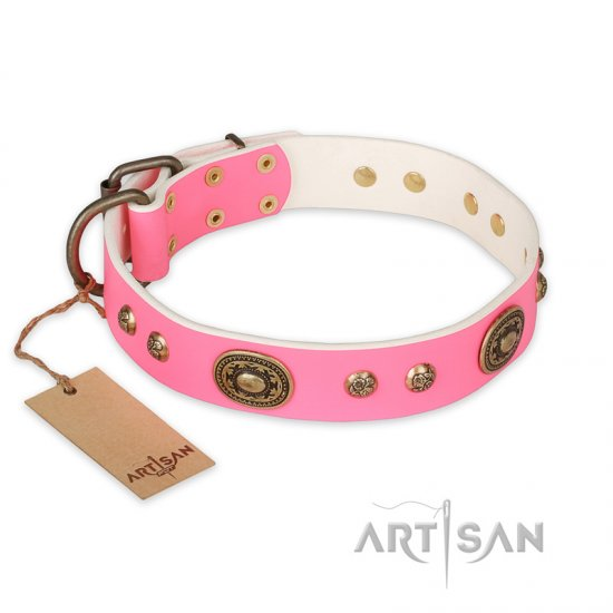 'Sensational Beauty' FDT Artisan Pink Leather Mastiff Collar with Old Bronze Look Plates and Studs