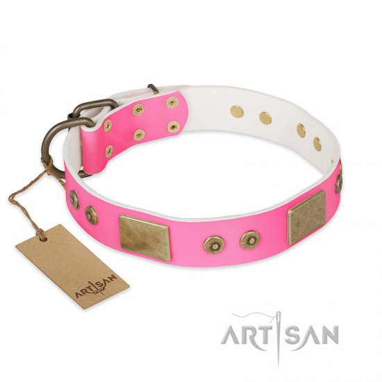 """Pink World"" FDT Artisan Pink Leather Mastiff Collar with Old Bronze Look Plates and Studs"