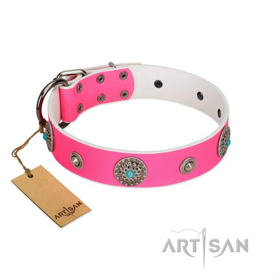 """Chili Mood"" Designer Handmade FDT Artisan Pink Leather Mastiff Collar"