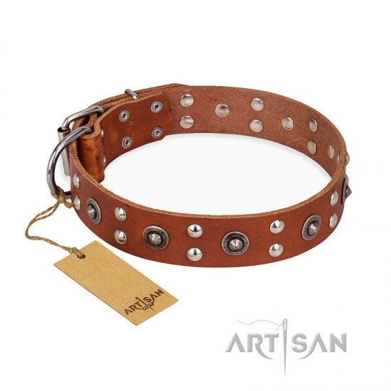 'Silver Elegance' FDT Artisan Tan Leather Mastiff Collar with Old Silver-Like Plated Studs and Cones 1 1/2 inch (40 mm) Wide