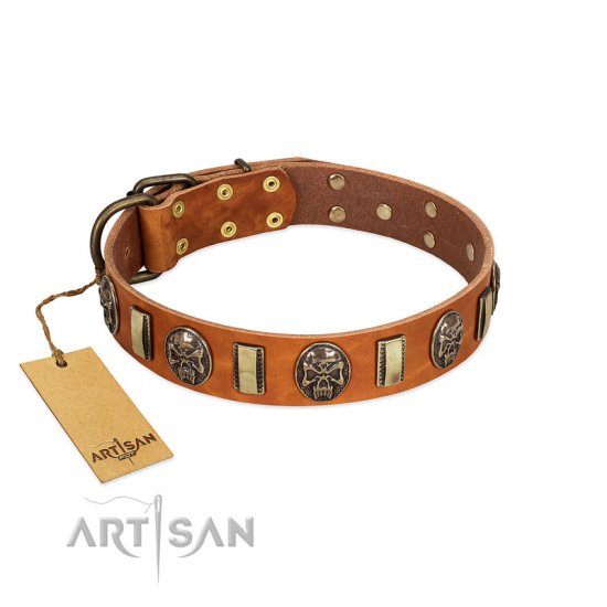 """Strike of Rock"" FDT Artisan Tan Leather Mastiff Collar with Plates and Medallions with Skulls"