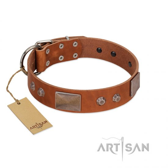"""Great Obelisk"" Handcrafted FDT Artisan Tan Leather Mastiff Collar with Large Plates and Pyramids"