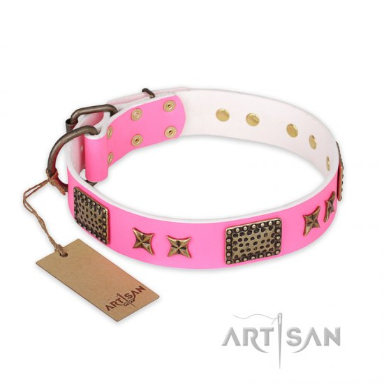 'Tender Pink' FDT Artisan Mastiff Leather Dog Collar with Old Bronze Look Stars and Plates - 1 1/2 inch (40 mm) wide