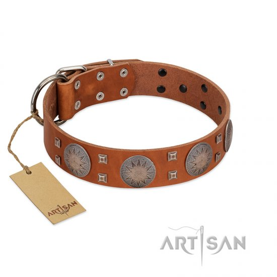 """Sun Rise Noon"" FDT Artisan Tan Leather Mastiff Collar with Unique Design"