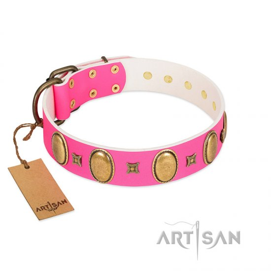 """Pawfect Lady"" Designer Handmade FDT Artisan Pink Leather Mastiff Collar with Ovals and Studs"