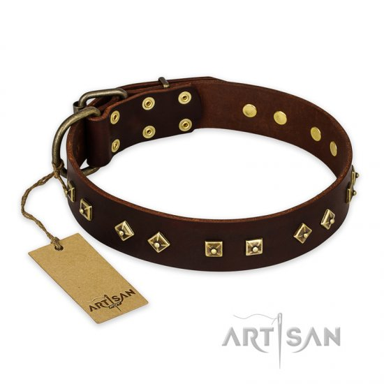 'Fashion Studs' FDT Artisan Decorated Brown Leather Mastiff Collar with Old Bronze-Plated Steel Hardware 1 1/2 inch (40 mm) Wide