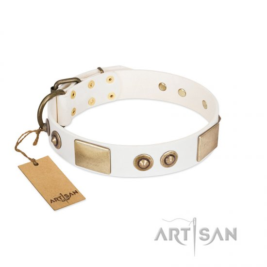 """Noble Impulse"" FDT Artisan White Leather Mastiff Collar Adorned with Antique Plates and Studs"