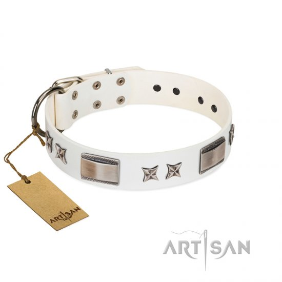 """Bling-Bling"" FDT Artisan White Leather Mastiff Collar with Sparkling Stars and Plates"