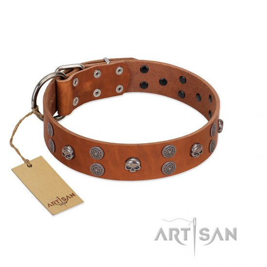 """Road Rider"" FDT Artisan Tan Leather Mastiff Collar with Old Silver-like Skulls and Medallions"