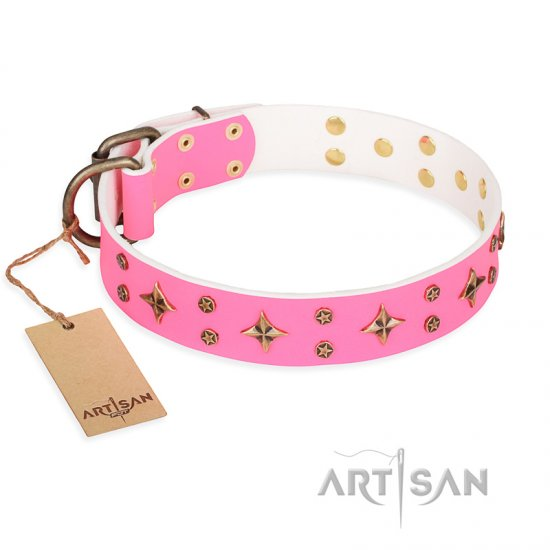 "Mastiff ""Chi-Chi Pink Rose"" FDT Artisan Leather Dog Collar with Decorations"