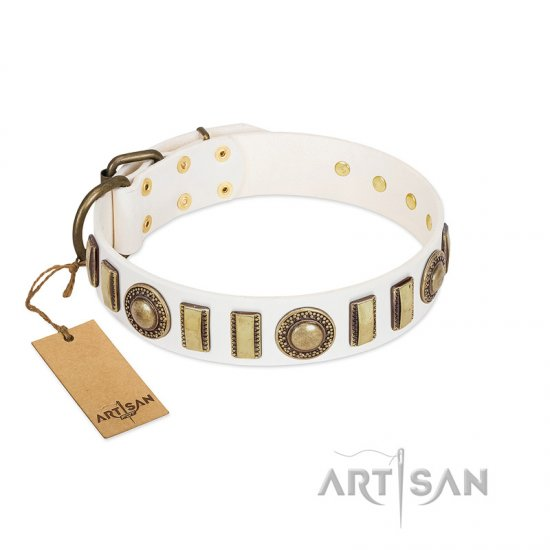 """Bowwow Finery"" FDT Artisan White Leather Mastiff Collar with Gold-Like Embellishments"