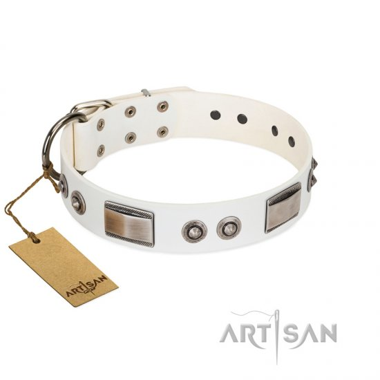 """Good-Luck Piece"" FDT Artisan White Mastiff Collar Adorned with Chrome Plated Studs and Plates"