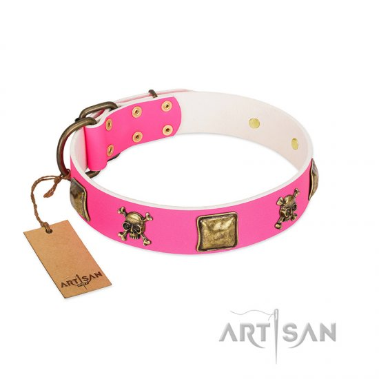 """Wild and Free"" FDT Artisan Pink Leather Mastiff Collar with Skulls and Crossbones Combined with Squares"