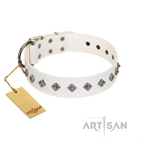 """Snowy Day"" Stylish FDT Artisan White Leather Mastiff Collar with Small Dotted Pyramids"