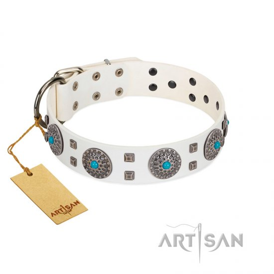 """Blue Sapphire"" Designer FDT Artisan White Leather Mastiff Collar with Round Plates and Square Studs"