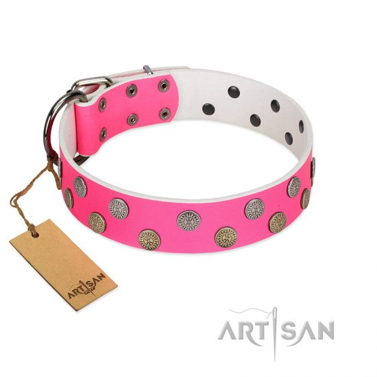 """Lucky Pink"" Designer FDT Artisan Pink Leather Mastiff Collar with Medallions"