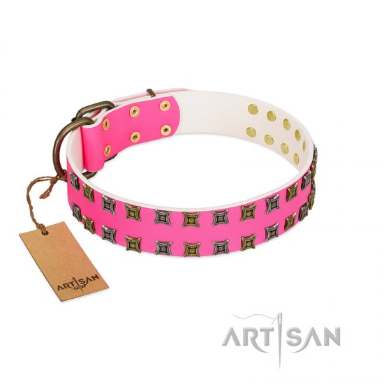 """Glamy Solo"" FDT Artisan Pink Leather Mastiff Collar with Extraordinary Studs"