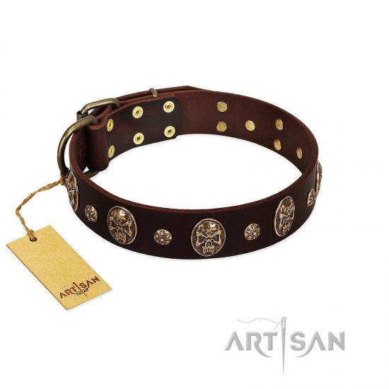 """Breaking the Horizon"" FDT Artisan Brown Leather Mastiff Collar with Engraved Studs and Medallions"