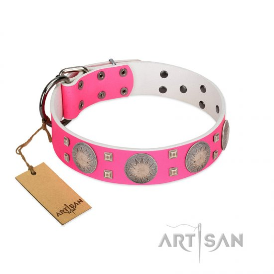 """Sunny Star"" Designer Handmade FDT Artisan Pink Leather Mastiff Collar"