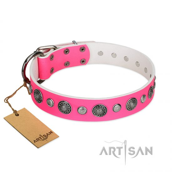 """Glamorous Shine"" FDT Artisan Stylish Leather Mastiff Collar with Old Silver-like Plated Decorations"