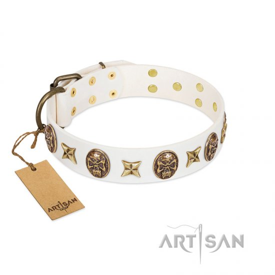 """Fads and Fancies"" FDT Artisan White Leather Mastiff Collar with Stars and Skulls"