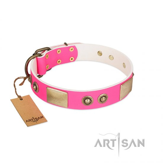 """Pink Splash"" FDT Artisan Soft Leather Mastiff Collar with Bronze-like Plates and Medallions"