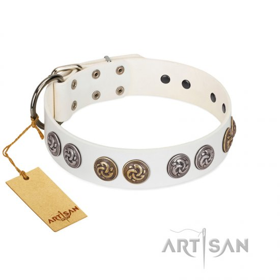 """White Moonlight"" FDT Artisan White Leather Mastiff Collar with Elegant Decorations"