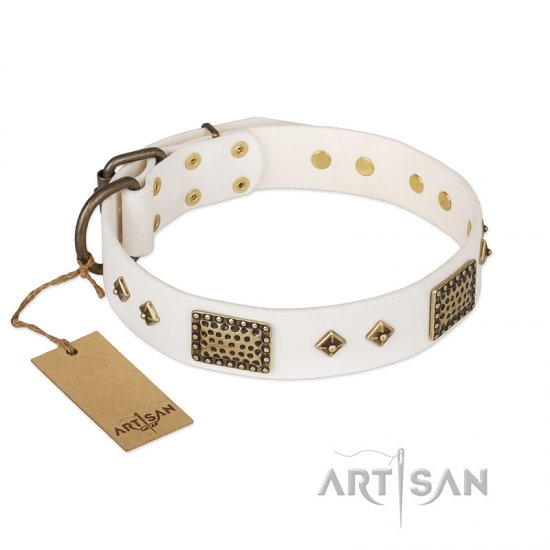 'Snow-covered Gold' FDT Artisan White Leather Mastiff Collar - 1 1/2 inch (40mm) wide