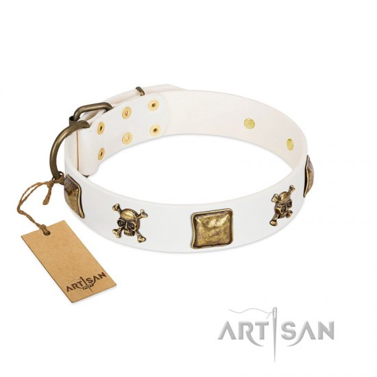 """Glo Up"" FDT Artisan White Leather Mastiff Collar with Skulls and Crossbones Combined with Squares"