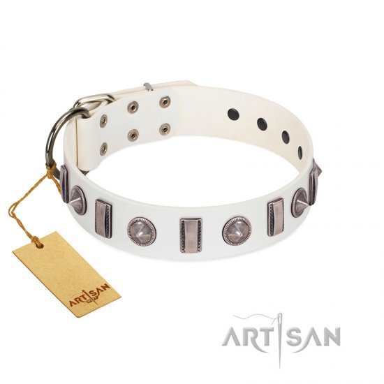"""Icy Spike"" Designer FDT Artisan White Leather Mastiff Collar with Silver-Like Decorations"