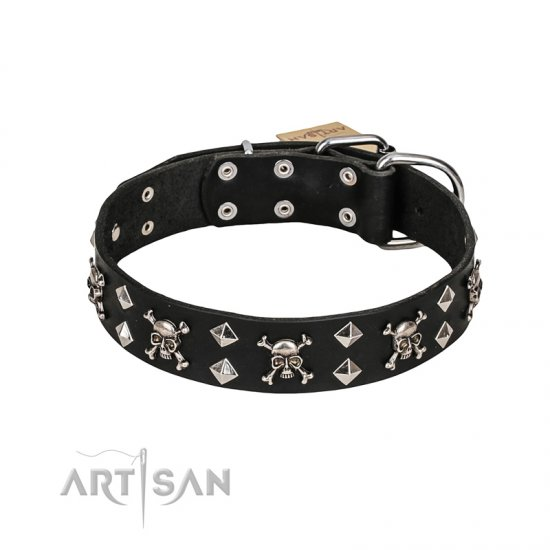 FDT Artisan 'Rock 'n' Roll Style' Fancy Leather Mastiff Collar with Skulls, Bones and Studs 1 1/2 inch (40 mm) wide