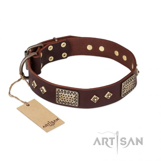 FDT Artisan 'Loving Owner' Decorated Leather Mastiff Dog Collar with Plates and Studs 1 1/2 inch (40 mm)