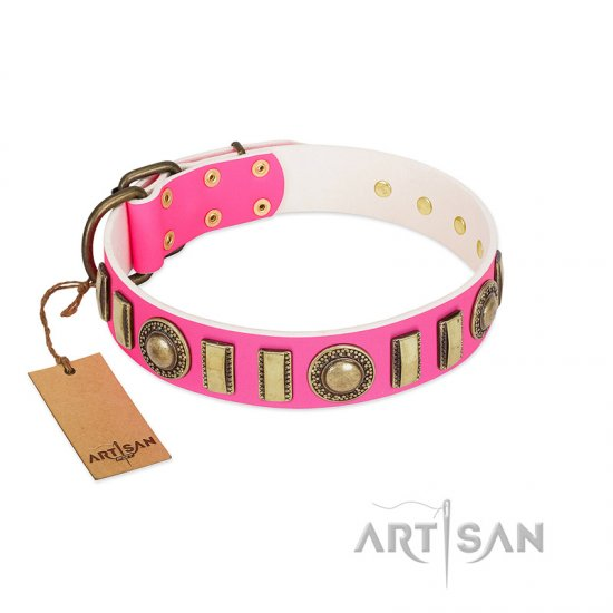 """La Femme"" FDT Artisan Pink Leather Mastiff Collar with Ornate Brooches and Small Plates"