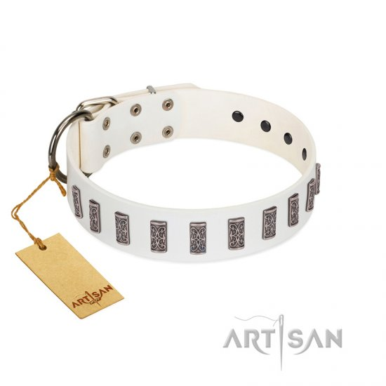 """Heaven's Gates"" Handmade FDT Artisan White Leather Mastiff Collar with Silver-Like Engraved Plates"