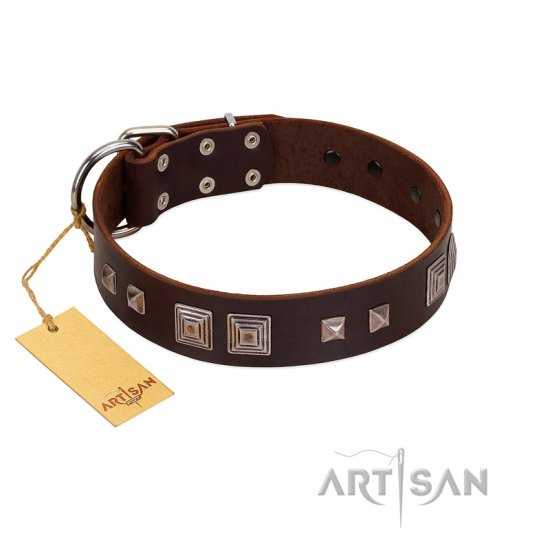 """Object of Virtu"" FDT Artisan Brown Leather Mastiff Collar with Old Silver-like Square Studs and Pyramids"